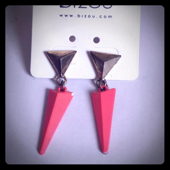 Cute triangle statement Retro Neon pink earrings